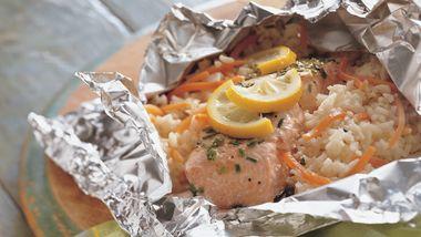 Grilled Lemon and Salmon Foil Packs