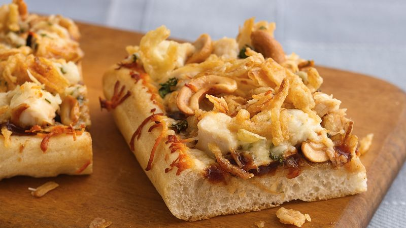 Barbecue Cashew-Chicken Pizza with French-Fried Onions