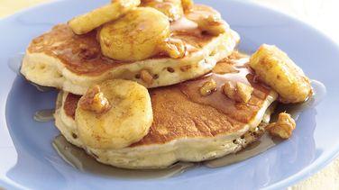 Pancakes de Avena con Jarabe de Plátano y Nuez