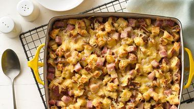 Cheesy Ham and Pretzel Roll Casserole