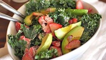 Strawberry-Avocado Kale Salad with Bacon Poppyseed Dressing