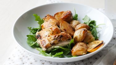 Skillet-Roasted Whole Chicken with Lemon and Potatoes