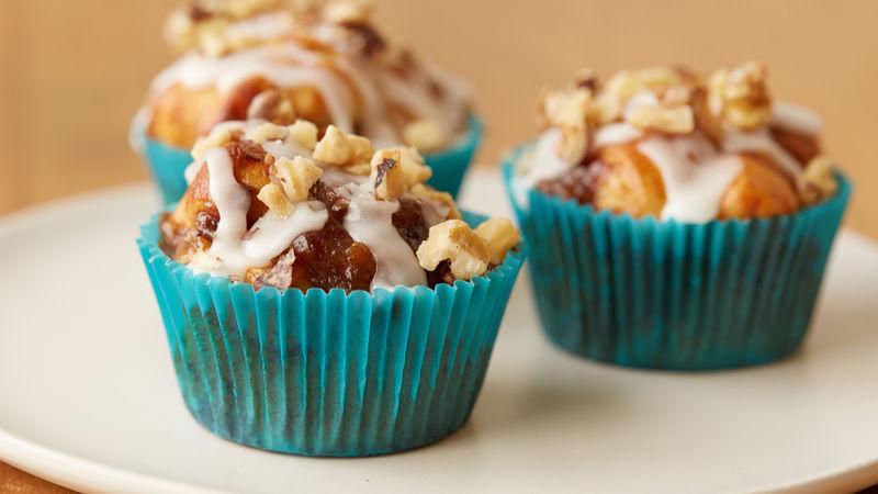Caramel Bananas Foster Cinnamon Roll Muffins