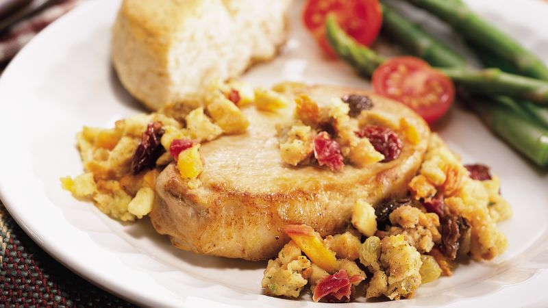 Slow-Cooked Pork Chops with Fruit Stuffing