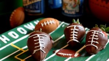 Chocolate Covered Strawberry Footballs