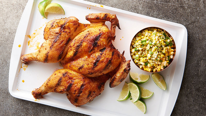 Grilled Spatchcock Chicken with Corn Salad