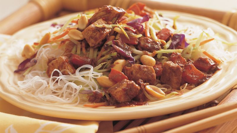 Kung Pao Pork over Sesame Noodles