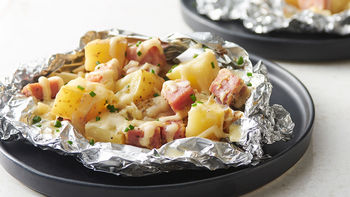 Cheesy Potatoes and Ham Foil Packs