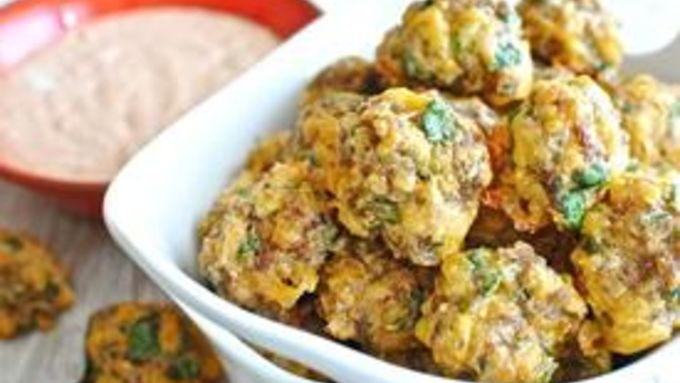Scallion and Cilantro Sausage Balls with a Chipotle Lime Dipping Sauce