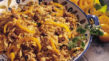 Cilantro Orzo and Beef