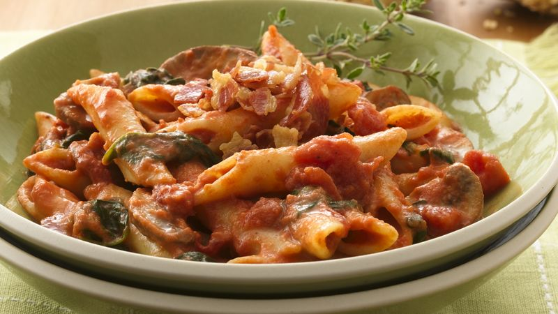 Penne with Mushroom-Tomato-Cream Sauce