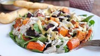 Roasted Vegetable and Crab Salad with Garlic Breadsticks