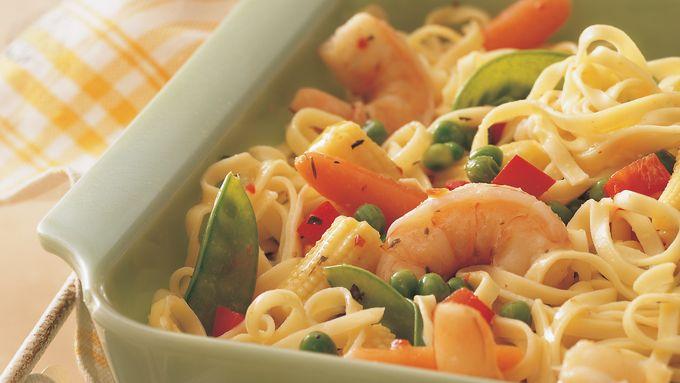 Honey-Garlic Shrimp and Linguine