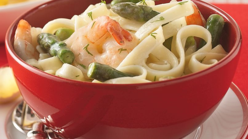 Asparagus, Shrimp and Dill Fettuccine