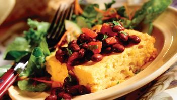 Triple-Corn Squares with Bean Sauce