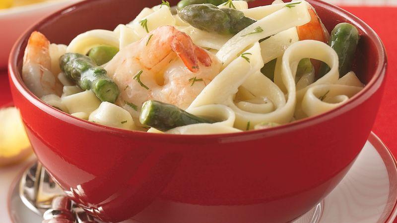 Asparagus, Shrimp and Dill over Fettuccine