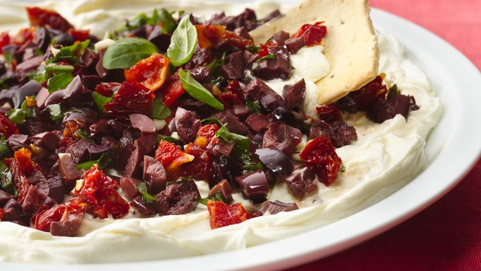 Kalamata Olives and Sun-Dried Tomatoes on Cream Cheese