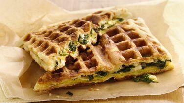 Feta and Kale Stuffed Breakfast Waffles