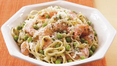 Shrimp, Peas and Pesto Pasta