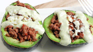 Ground Beef Stuffed Avocados with Creamy Cilantro Sauce