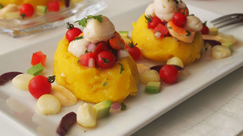 Causa Lime 241 A With Steamed Scallops Recipe Que Rica Vida
