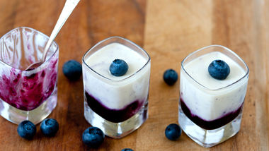 Vanilla-Honey Panna Cotta with Blueberry Sauce