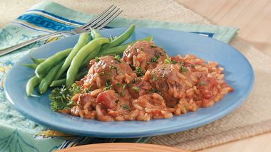 Creamy Tomato, Meatballs and Rice Bake