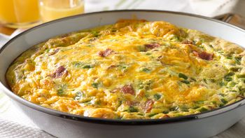 Bacon, Ham and Cheddar Omelet Bake