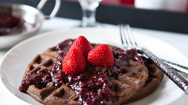 Chocolate Waffles with Slow-Cooker Boozy Berries