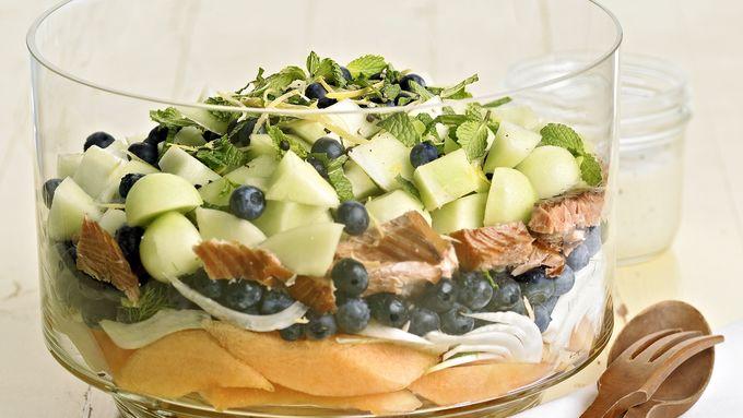 Skinny Tangy Smoked Salmon Layered Salad