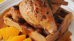 Corn Biscuit Waffles with Honey-Cinnamon Baked Chicken