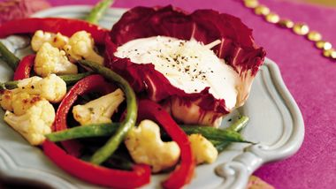 Roasted Vegetables with Creamy Caesar Dip
