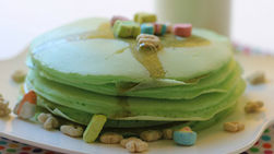 Green Pancakes with Lucky Charms™