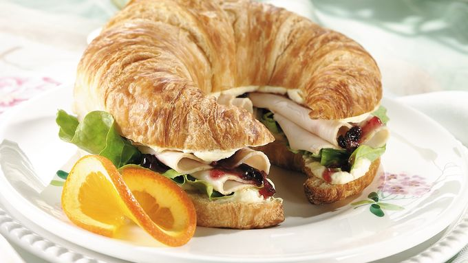 Roasted Chicken and Cranberry Croissants