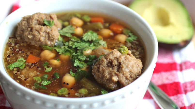 Quinoa Soup with Meatballs