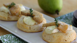 Biscuits Topped with Pear and Brie