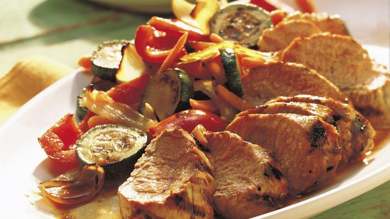 Grilled Pork Tenderloins with Vegetable Medley