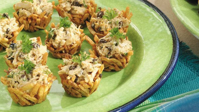 Crispy Curried Chicken Salad Nests