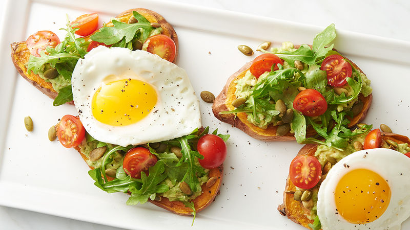 Sweet Potato Avocado Toasts with Egg and Arugula