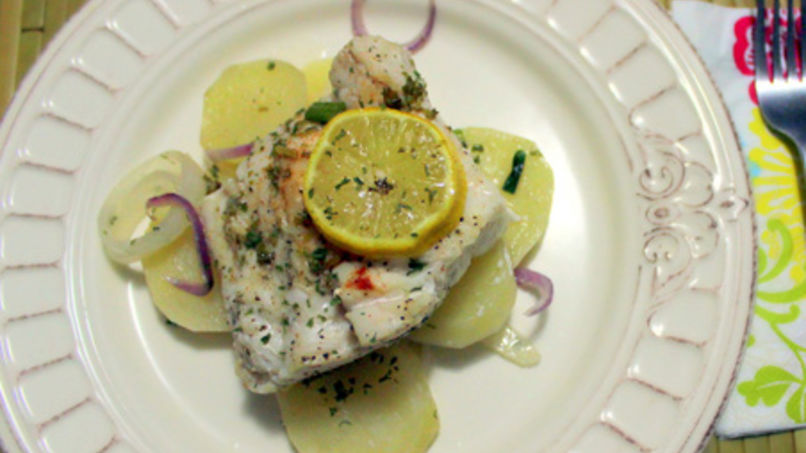 Sea Bass with Sliced Baked Potatoes