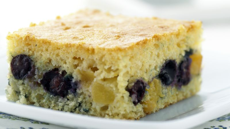 Skinny Blueberry-Peach Coffee Cake recipe from Betty Crocker