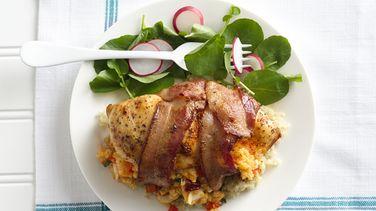 Pechuga de Pollo Rellena con Quinoa y Mariscos