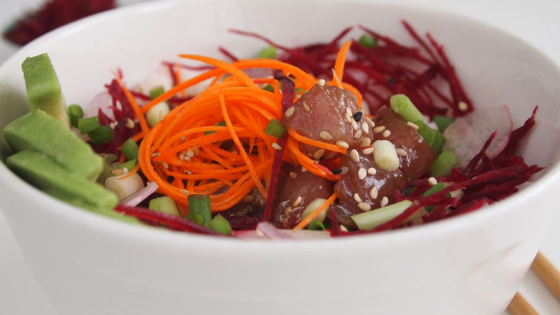 Tuna Poke Bowl with Avocado, Carrots and Beets