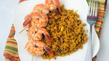Mexican Rice with Shrimp Kebabs