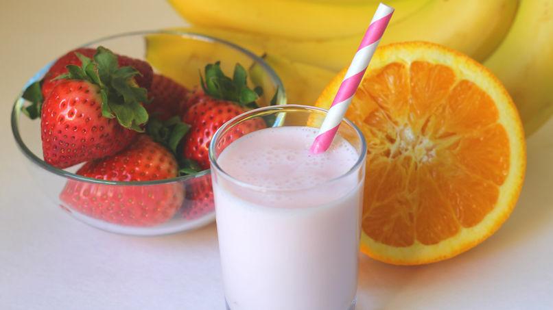 Batido de Naranja, Banana y Fresas