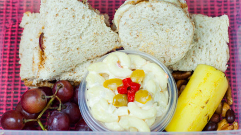 Peanut Butter and Banana Sandwich with Special Pasta Salad