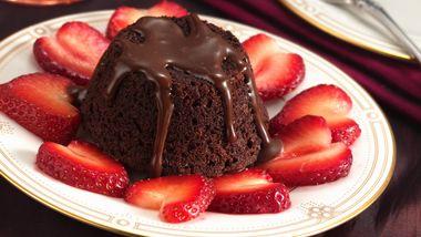 Mini Hot Fudge Cakes and Strawberry Hearts