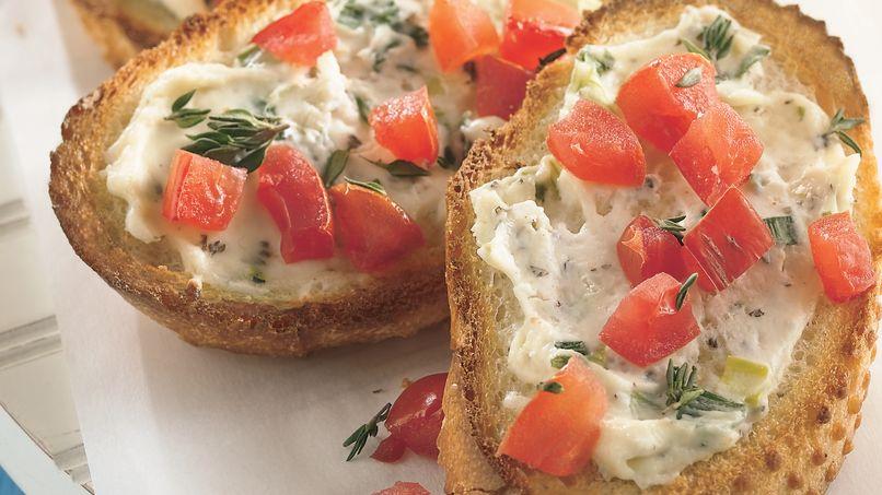Garlic Cream and Tomato Crostini