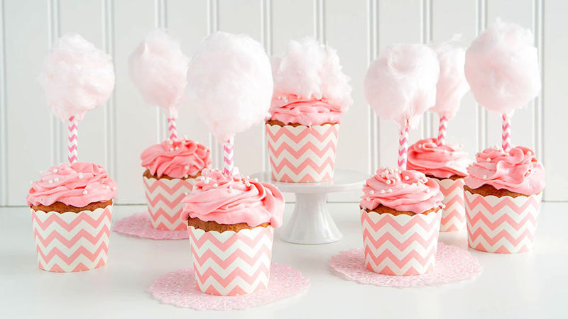 Pink Cotton Candy Cupcakes
