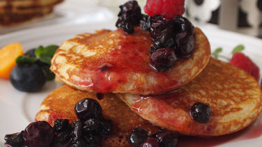 Pancakes with Elderberry and Blueberries